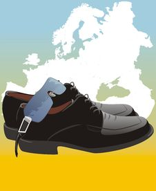 Free Masculine Shoes And Glasses On The Map Of Europe Royalty Free Stock Photo - 9792925