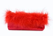 Party Girl - Red Silk Evening Bag With Feathers Royalty Free Stock Photography