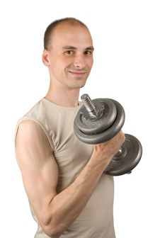 Man With Barbell Stock Photo