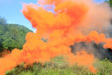 Free Orange Smoke Above A Mountain Glade Royalty Free Stock Photos - 9794768