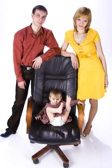 The Child Sits In An Office Chair. Stock Images