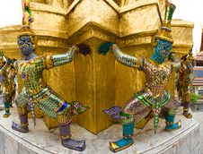 Demons Of The Grand Palace In Bangkok Royalty Free Stock Photo
