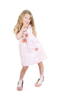 Free Little Girl Playing With Big Mom Shoes Royalty Free Stock Photo - 9796445