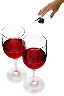 Free Red Wine & Keys Royalty Free Stock Image - 9796986