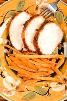 Free Turkey With Sweet Potato Fries Royalty Free Stock Photography - 9799067