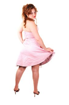 Free Pretty Girl In Pink Dress. Stock Photography - 9799222