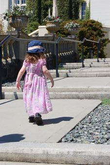 Free Girl Walking Up Steps In Colour Stock Photo - 983560