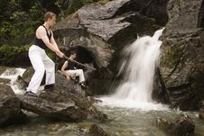 Free Two Man Training At Waterfalls Royalty Free Stock Photography - 983907