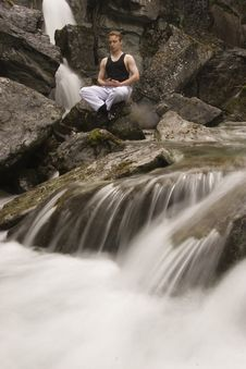 Free Meditation On Stream - Long Exposure Stock Photography - 983912