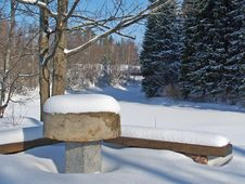 Free Stone Table In A Winter Stock Image - 988421