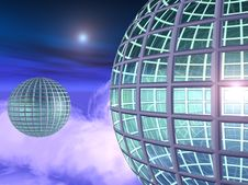 Free Globe City In The Skies Royalty Free Stock Image - 989476