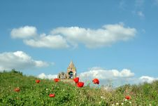 Free Old Church Tower In Poppy Field Stock Image - 989641