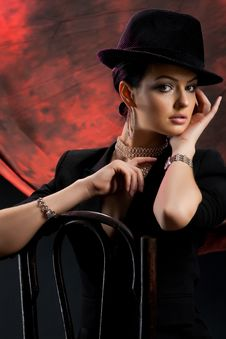 Free Young Woman In A Black Hat Stock Photo - 9800250