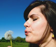 Free Woman Blowing Stock Photos - 9801283