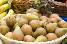 Lot Of Really Pears In A Market Stock Photo