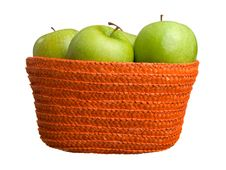 Green Apples In A Basket Royalty Free Stock Photo