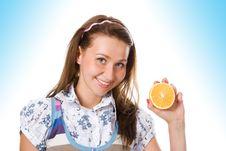Free Woman With Orange Stock Photo - 9803340