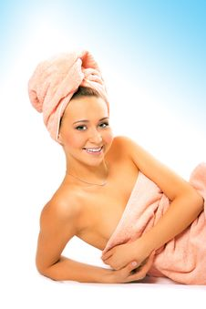 Free Spa Young Pretty Girl In Towel After Shower Royalty Free Stock Photography - 9803367