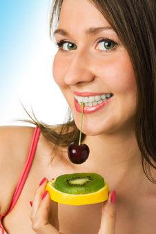 Beauty Woman With Fruit Royalty Free Stock Photo