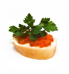 Free Sandwiches With Caviar Royalty Free Stock Image - 9803596