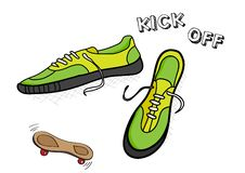 Free Green Trainers With Skateboard Stock Images - 9803734