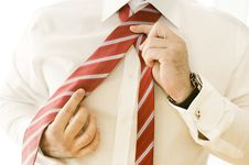 Free Businessman Adjusting Tie Royalty Free Stock Photography - 9803977