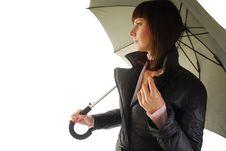 Free Woman In Coat Under Umbrella Royalty Free Stock Image - 9806596