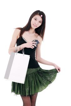Free Asian Young Woman Shopping Royalty Free Stock Images - 9806829