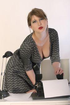 Free Woman With Typewriter Stock Photos - 9807263