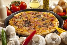 Free Pizza With Mushrooms Royalty Free Stock Photos - 9807288