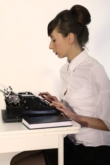 Secretary With Typewriter Royalty Free Stock Images