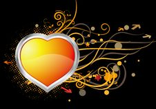 Free Heart And Floral Background Stock Images - 9807454