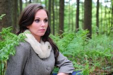 Free Young Brunette Female Sitting Amongst Ferns Stock Photos - 9808143
