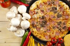 Free Pizza With Mushrooms Stock Image - 9808611