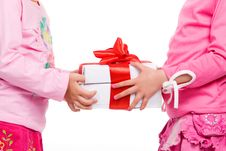 Free Little Girls Holding Gift Boxes Stock Photo - 9809290