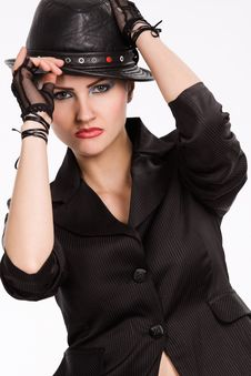Free Young Fashionable Model With Black Hat Royalty Free Stock Photos - 9809318