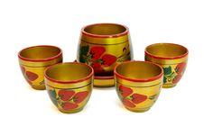 Russian Painted Wooden Honey Pot With Four Cups  I