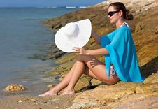 Free Brunette At The Sea Royalty Free Stock Photos - 9810108