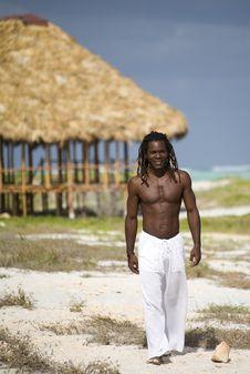 Free Man Walking On The Beach In Cuba Stock Image - 9811321