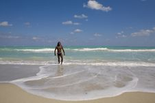 Free Man Going Out The Sea In Cuba Royalty Free Stock Photography - 9811447