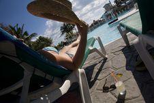 Woman Near Swimming Pool In Cuba Stock Photos