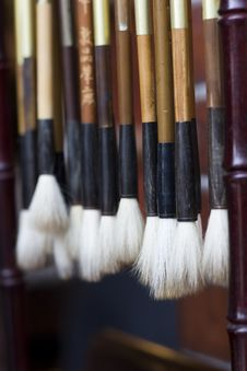 Free Chinese Calligraphy Brushes Stock Image - 9812161