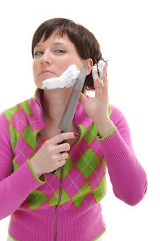 Free Woman Shaving Her Face Royalty Free Stock Images - 9812339