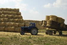 Tractor With Trailer Loaded With Straw Sheaves Royalty Free Stock Photos