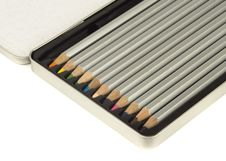 Free Colored Pencils In Metal Box Royalty Free Stock Image - 9813666