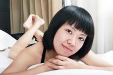Asian Girl Relaxing In The Morning Stock Photos