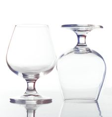 Free Two Empty Wine Glasses Stock Image - 9813831