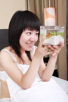 Asian Girl With Her Goldfish Royalty Free Stock Photo