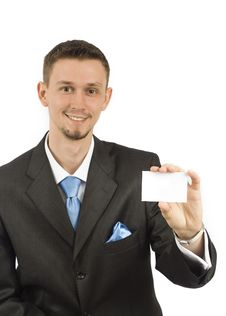 Free Businessman With White Card Stock Image - 9814291