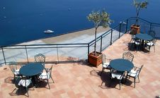 Cafe Terrace In Front Of The Sea. Royalty Free Stock Photos